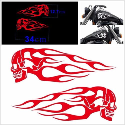 Durable 2Pcs 34x12.7cm Red Motorcycle Skull Flame Stripes Gas Tank Vinyl Sticker