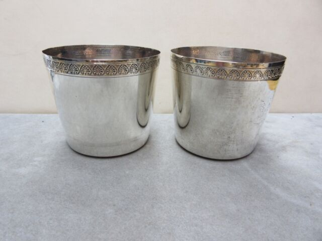 Antique Sterling Silver Egyptian Cups lotus Hallmark set of 2