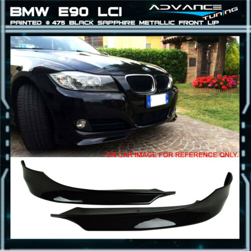 09-11 Bmw E90 LCI PP Front Splitter Painted # 475 Black Sapphire Metallic