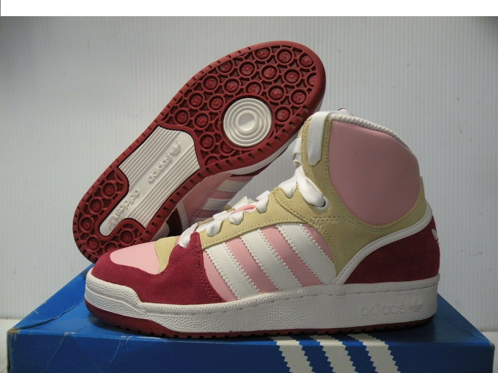 ADIDAS GAME MID SNEAKERS WOMEN SHOES PINK/RED/WHITE G09765 SIZE 9 NEW