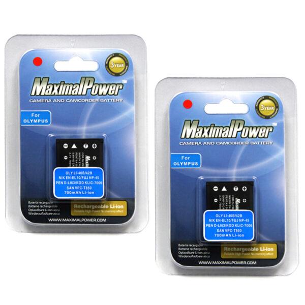 à Condition De 2x Maximalpower ™ Batteries Pour Fujifilm Fuji Np-45 Np-45a Finepix Xp60 Xp50 T550