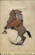Cowboy w/ Lasso Rope on Horse - ROUNDUP CIGARS c1910 Postcard