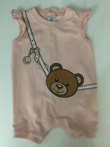 6aec27359ee8 Moschino Baby Girls Pink Short Sleeve All In One Romper Teddy Bear ...