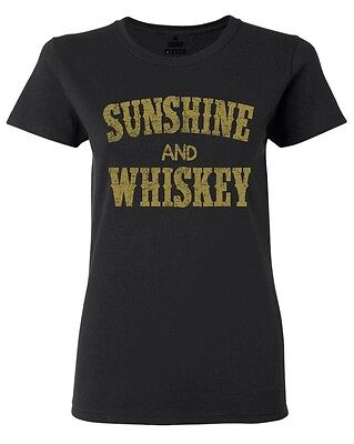 Sunshine and Whiskey Gold Women/'s V-Neck T-shirt Country Girl Southern Tee