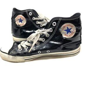 vintage black vinyl Converse high tops