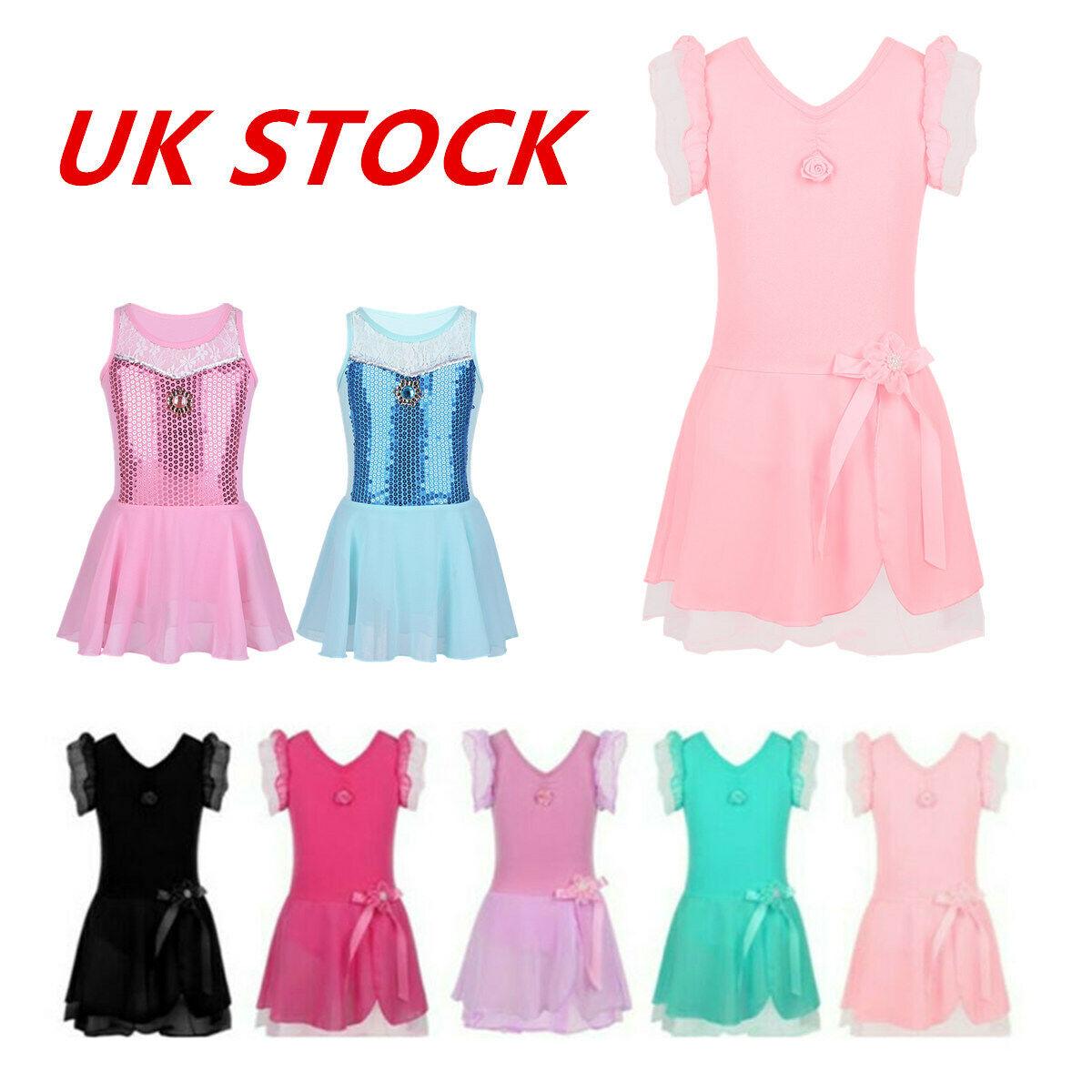UK Kids Girls Ballet Dress Dance Sequins Gymnastic Tutu Princess Dress Dancewear