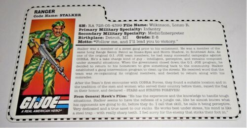 G I JOE File Card Filecard  Stars and Stripes       1997 Stalker  V6