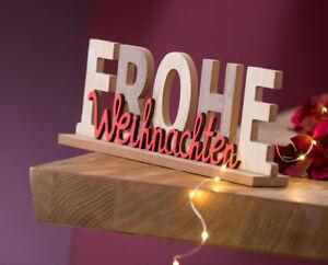 Frohe Weihnachten Schriftzug Beleuchtet.Schriftzug Frohe Weihnachten Holz 30 Cm G22274 Weihnachtsdeko Ebay