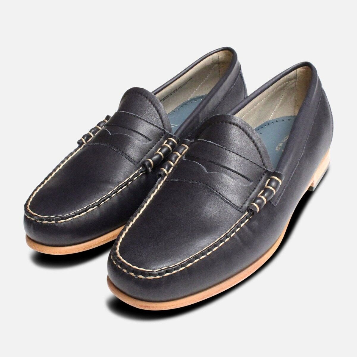 Navy Blau Bass Weejun Mens Mens Mens Loafers Leather Sole