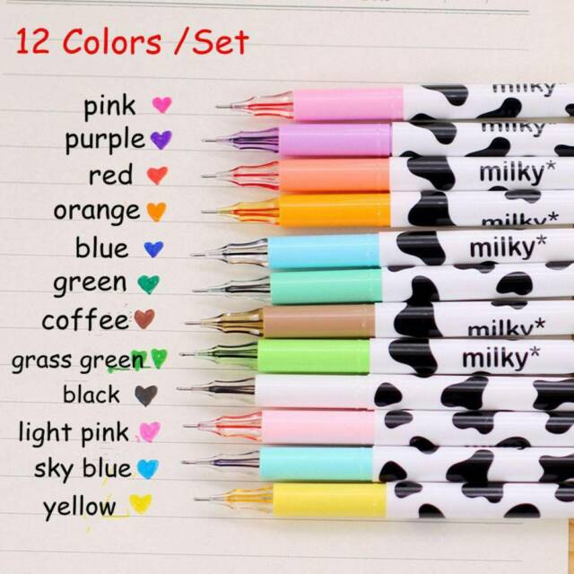 12Pcs/Set Candy Colors Milky Cow Gel Pen Cute Pens Student Stationery Pens Gifts