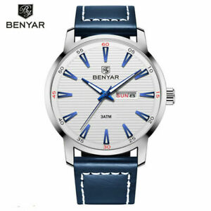 BENYAR-30m-Waterproof-Military-Sport-Watch-Men-039-s-Quartz-Watches-Leather-Strap