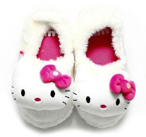 ede85ddff KIDS GIRLS PINK SPARKLY WHITE INDOOR SLIPPERS MIST 3D HELLO KITTY ...
