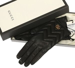 52983db5a4af7 NEW GUCCI MARMONT CHEVRON BLACK LAMB LEATHER DOUBLE G LOGO GLOVES 8 ...