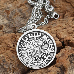 Norse-Viking-Pendant-Norse-Wolf-Head-Mens-Necklace-Animal-Amulet-Cord-Rope-Chain