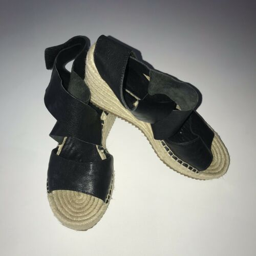 Eileen Fisher Willow Espadrille Wedges Black Size