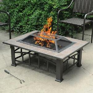 Rectangular Tile Table Top Outdoor Fire Pit Fireplace Backyard Deck Wood Burning