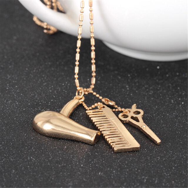 Cosmetologist Hair Dresser Gold Necklace Hair Dryer Scissor Comb Dangle Pendant