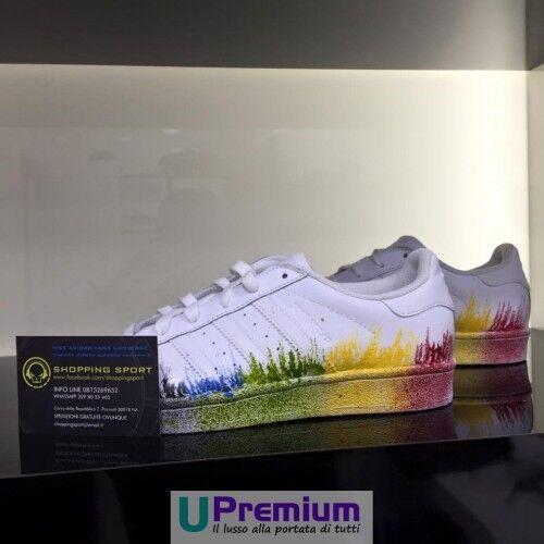 Adidas [Prodotto Superstar Bianche Schizzi Colorati [Prodotto Adidas Customizzato] Scarpe ORIGINA b253d5
