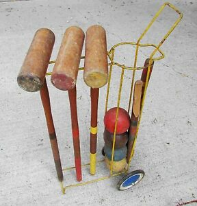 Details About Vintage Croquet Set Wire Stand 3 Mallets 4 Sports Display 29 Free Sh
