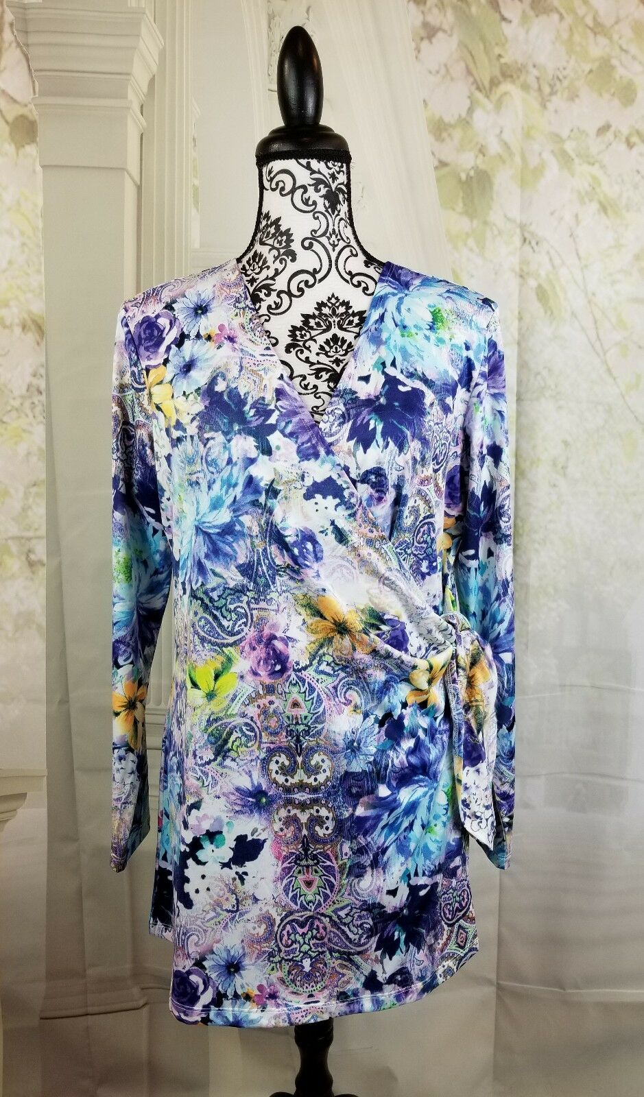Women With Control Renee Greenstein wrap support stretch sz lp floral print bb13