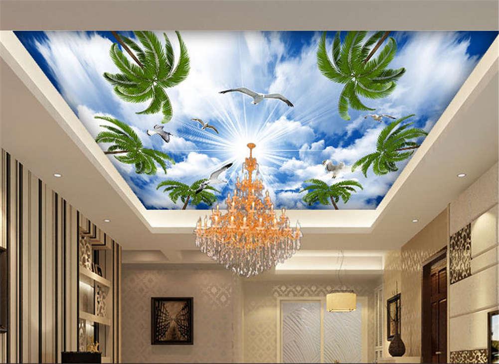Salient Grün Leaves 3D Ceiling Mural Full Wall Photo Wallpaper Print Home Decor