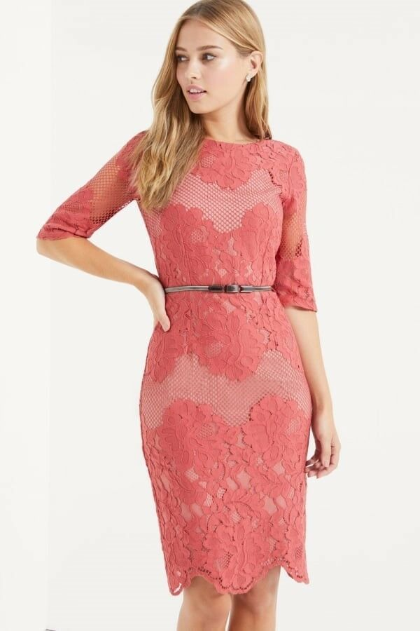 Little Mistress Lace Dress, Terrracotta, Size 12, BNWT