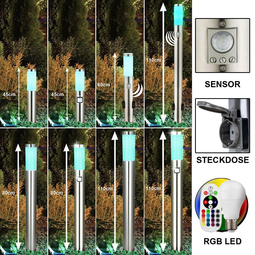 LED de luces de Soporte de Acero Inoxidable Sensor Jardín Zócalos De Control Remoto Rgb Dimmer