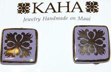 Pretty KAHA Maui Gold Tone & Purple Enamel Porcelain Clip-On Earrings  B132