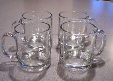 4 USA Classic Coffee Mugs Cups Clear Glass D Handled Glasses Tea Hot Drinks