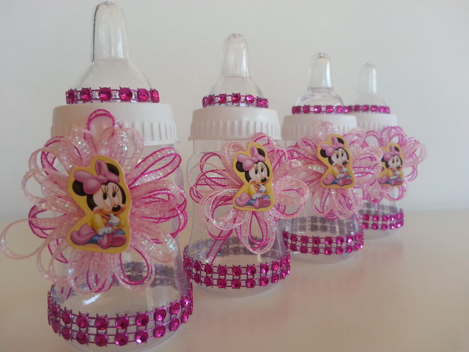 details about 12 minnie mouse pink fillable bottles baby shower favors