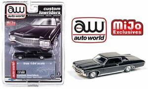 AUTO WORLD 1:64 MIJO EXCL CUSTOM LOWRIDERS BLACK 1970 CHEVY IMPALA SS HARDTOP