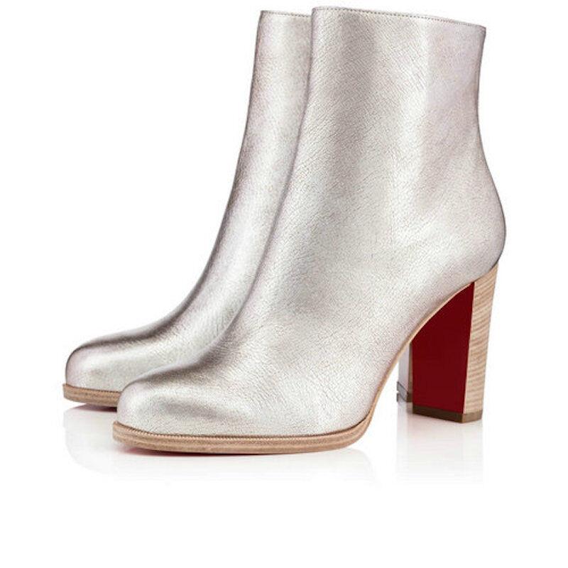 NIB Ankle Christian Louboutin Adox 85 Metallic Silver Heel Ankle NIB Bootie Boot 39.5 $945 8c999c