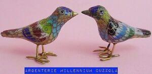 UCCELLI CLOISONNE UCCELLINI LITTLE BIRDS OISEAUX AUTENTICO CLOISONNE VINTAGE