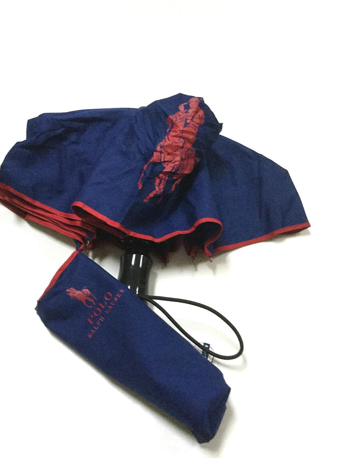 Ralph Lauren Womens navy red compact folding signature umbrella