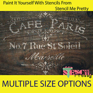 ❤ French CAFE PARIS reusable stencil DIY template Shabby Chic furniture Vintage