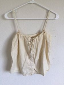 brandy-melville-yellow-button-up-tie-front-tank-top-NWT-sz-S-M