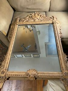Large-Antique-Ornate-Wood-And-Gesso-Frame-Wall-Mirror-29-5-034-Wide-x-46-0-034-Tall