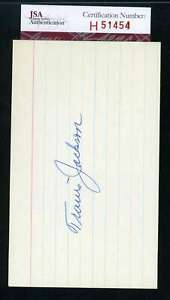 Travis Jackson  JSA Coa Autograph Hand Signed 3x5 Index Card
