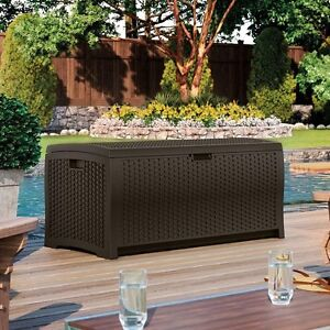 Details about Deck Box Suncast Swimming Pool Storage Outdoor Plastic  Furniture Container Bin