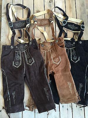 Kinder Kniebund Trachten Lederhose dunkelbraun hellbraun schwarz  86-176 H