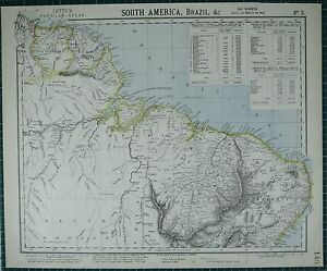 1883 LETTS MAP ~ SOUTH AMERICA NORTH EAST MARANHANO PIAUHY PERNAMBUCO