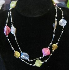 Fantastic double string necklace with silver tone filler & irregular beads