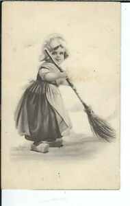 AY-079-Little-Girl-Sweeping-1907-1915-Golden-Age-Postcard-Vintage