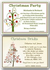 christmas party xmas get together drinks personalised invitations