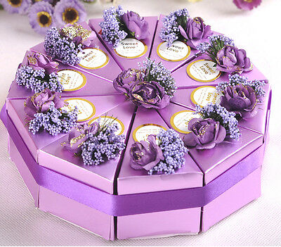 10pc Purple Paper Wedding/Party Gift Favor Candy Box With Silk Ribbon and flower