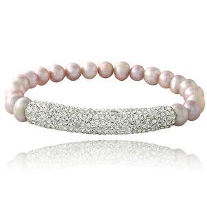 Pink-Freshwater-Cultured-Pearl-amp-Crystal-Bar-Stretch-Bracelet