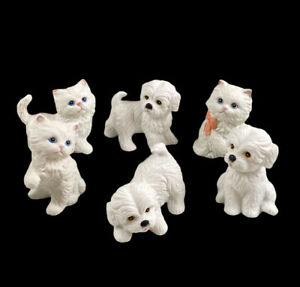 Vintage Homco Ceramic Figurine Kittens & Puppies Set Of 6 Porcelain Bisque 80's