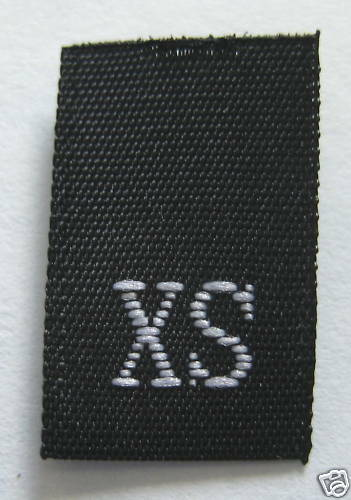 BLACK SIZE TAG EXTRA SMALL 100 PCS WOVEN CLOTHING LABELS XS