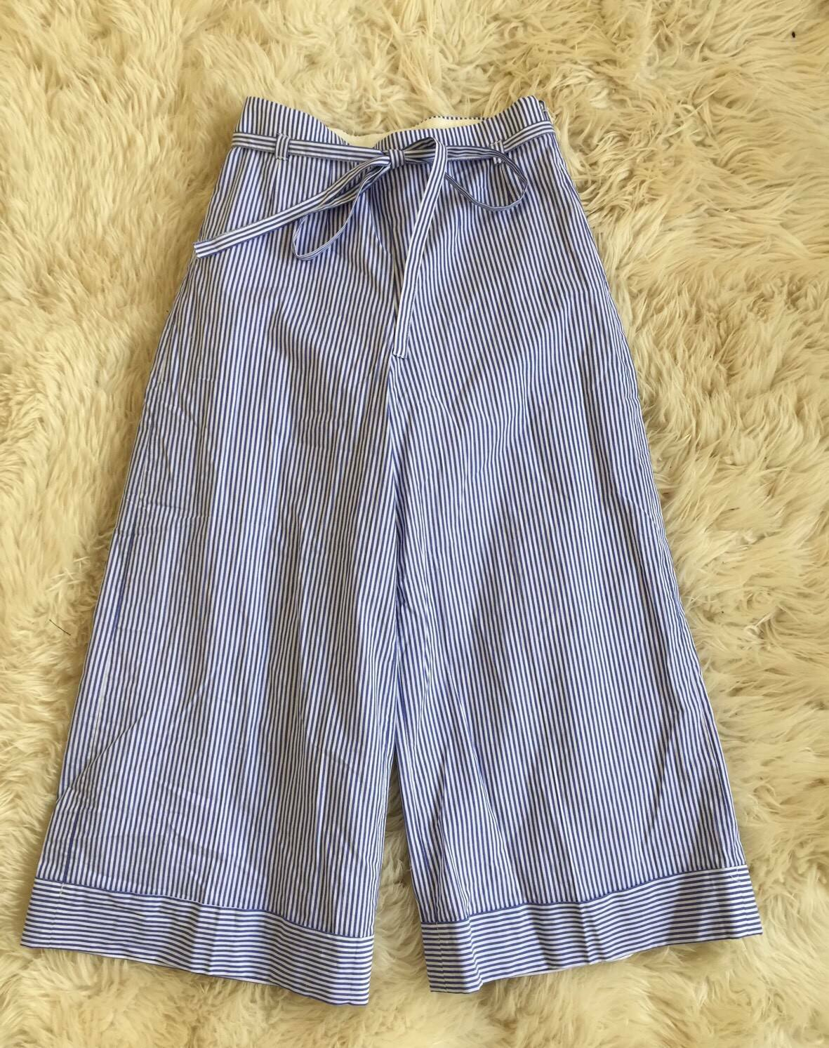 98 J. CREW CUFFED CROPPED PANTS blueE WHITE SHIRTING STRIPE G3174 Sz 00 NEW