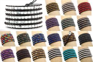 Luxury Handmade 4mm Mixed Crystal Gemstone Beads Wrap Leather Bracelet